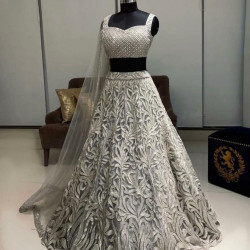 Excellent Silver Color Orgenza Silk With Embroidery Work Wedding Lehenga Choli
