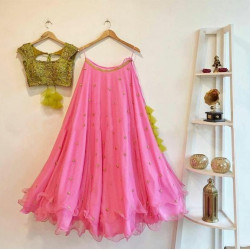 Scorching Light Pink Color Embroidered Faux Georgette Festive Lehenga Choli