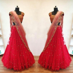 Evergreen Red Color Embroidered Faux Georgette Festive Lehenga Choli
