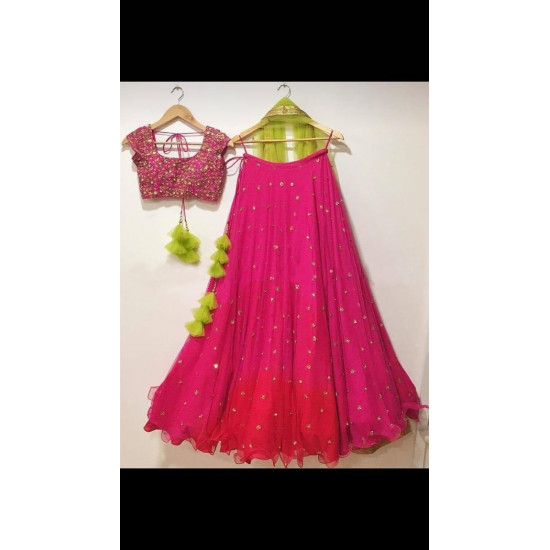 Alluring Pink Color Embroidered Faux Georgette Festive Lehenga Choli