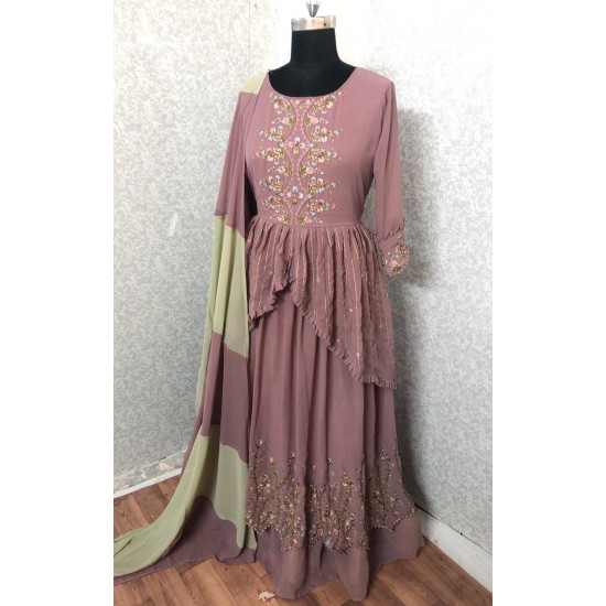 Exceptional Lilac Purple Color Embroidery Work Salwar Suit