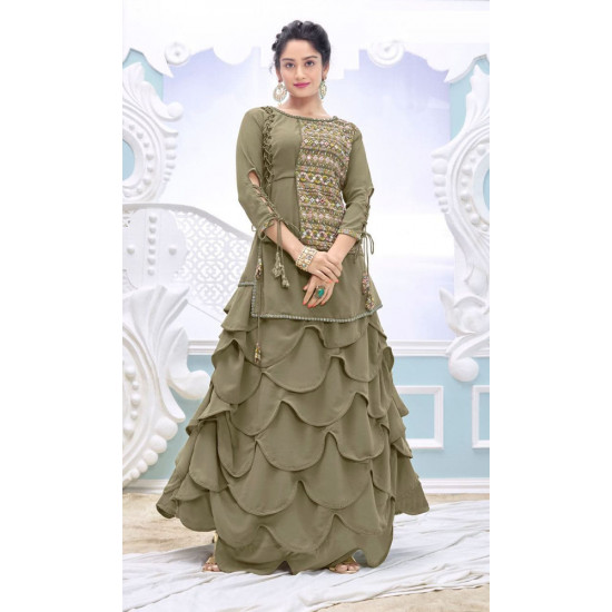 Visionary Sage Green Color Embroidery Work Salwar Suit