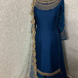 Remarkable Navy Blue Color Heavy Embroidery Work Salwar Suit