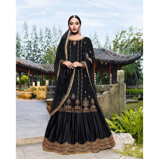 Fashionable Black Color Heavy Embroidery Work Salwar Suit