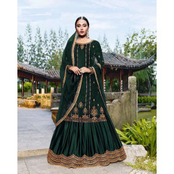 Appealing Green Color Heavy Embroidery Work Salwar Suit