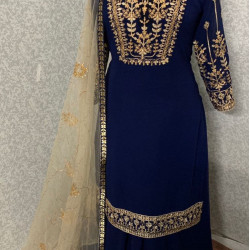 Fashionable Navy Blue Color Heavy Embroidery Work Salwar Suit