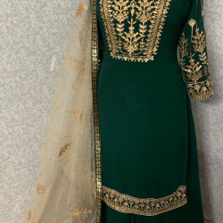 Incomparable Green Color Heavy Embroidery Work Salwar Suit