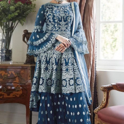Invigorating Sapphire Blue Color Heavy Embroidery Work Salwar Suit