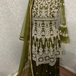 Extraordinary Fern Green Color Heavy Embroidery Work Salwar Suit