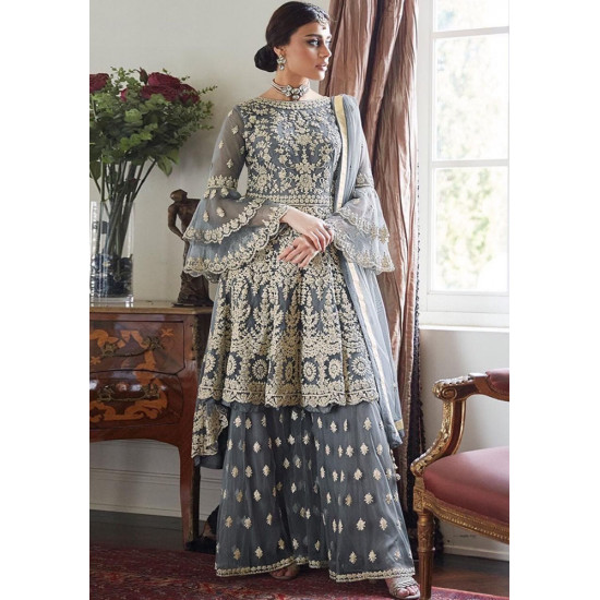 Contemporary Pewter Behr Grey Color Heavy Embroidery Work Salwar Suit