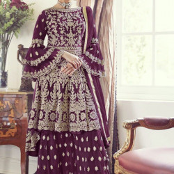 Gorgeous Wine Color Heavy Embroidery Work Salwar Suit