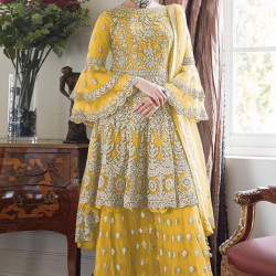Sophisticated Yellow Color Heavy Embroidery Work Salwar Suit