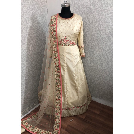 Stimulating Cream Color Heavy Embroidery Work Suit With Dupatta