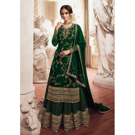 Statuesque Green Color Heavy Embroidery Work Salwar Suit