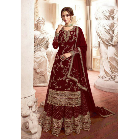 Audacious Garnet Red Color Heavy Embroidery Work Salwar Suit