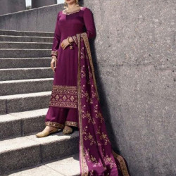 Stimulating Wine Color Heavy Embroidery Work Salwar Suit