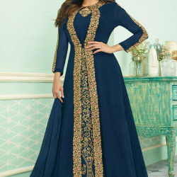 Spectacular Jay Blue Color Heavy Embroidery Work Salwar Suit