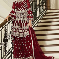 Statuesque Currant Red Color Heavy Embroidery Work Salwar Suit