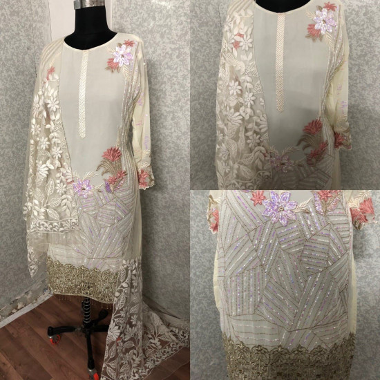 Spectacular Off White Color Heavy Embroidery Work Salwar Suit