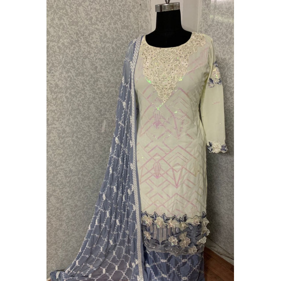 Entrancing Off White Color Heavy Embroidery Work Salwar Suit