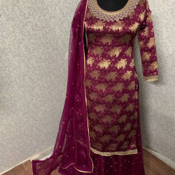 Extraordinary Wine Color Heavy Embroidery Work Salwar Suit