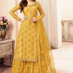 Exquisite Canary Yellow Color Heavy Embroidery Work Salwar Suit