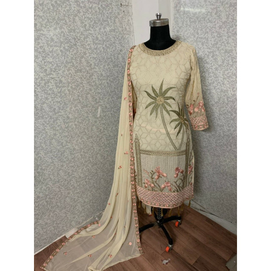 Innovative Beige Color Heavy Embroidery Work Salwar Suit