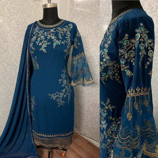Marvelous Jay Blue Color Heavy Embroidery Work Salwar Suit