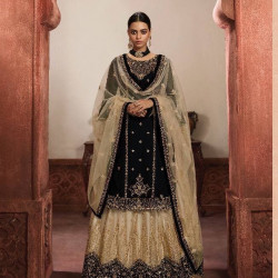Extraordinary Black Color Heavy Embroidery Work Salwar Suit