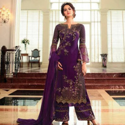 Sophisticated Wine Color Heavy Embroidery Work Salwar Suit