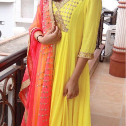 Outstanding Yellow Color Embroidery With Real Mirror Handwork Salwar Suit