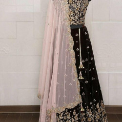 Immaculate Black Color Havy Embroidery Worked Lehenga Choli