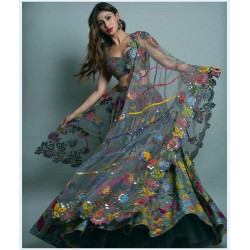 Magnetic Dark Green Color Embroidered Chain Sttiched Lehenga Choli