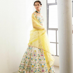 Dapper White And Yellow Color Embroiderey With Stone Work Lehenga Choli
