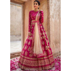 Charismatic Pink Color Embroidery With Stone Work Lehenga Choli
