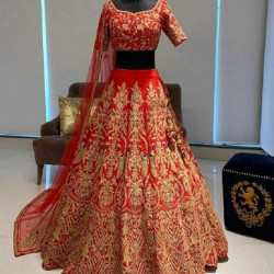 Excellent Red Color Tafeta Silk Embroidery With Fancy Codding Work Bridal Lehenga Choli