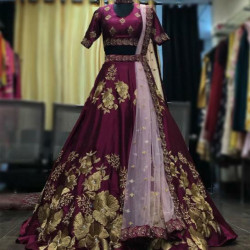 Sizzling Wine Color Silk Golden Zari With Chain Sttched Embroidery Work Wedding Lehenga Choli