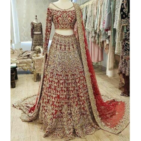 Refreshing Red Color Soft Georgette With Embroidery Work Bridal Lehenga Choli