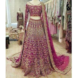 Amazing Pink Color Soft Georgette With Embroidery Work Bridal Lehenga Choli