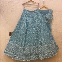 Sophisticated Pastel Blue Color Tissue Soft Net With Heavy Embroidery Work Wedding Lehenga Choli