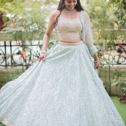 Sparkling Sky Blue Color Georgette With Heavy Embroidery Sequence Work Wedding Lehenga Choli