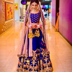 Epitome Royal Blue Color Tapata Silk With Heavy Embroidery Work Bridal Lehenga Choli