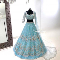 Estimable Baby Blue Color Heavy Soft Net With Heavy Embroidery Work Wedding Lehenga Choli