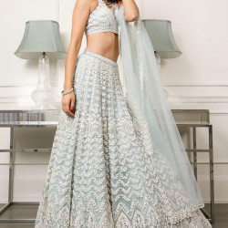 Forever Pastel Blue Color Heavy Soft Net With Heavy Embroidery Work Festive Lehenga Choli