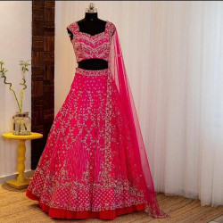 Gratifying Pink Color Heavy Georgette With Heavy Embroidery Work Wedding Lehenga Choli