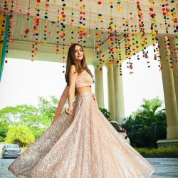 Invigorating Peach Color Georgette With Heavy Full Sequence Embroidery Work Festive Lehenga Choli