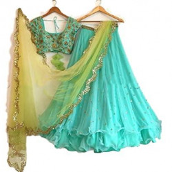 Outstanding Sky Blue Color Embroidered Faux Georgette Festive Lehenga Choli