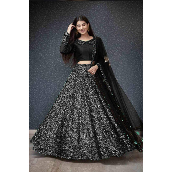 Admirable Black Color Pure Velvet With Sequence Work Lehenga Choli