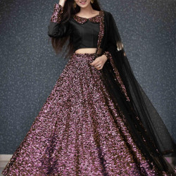 Captivating Bronze Color Pure Velvet With Sequence Work Lehenga Choli