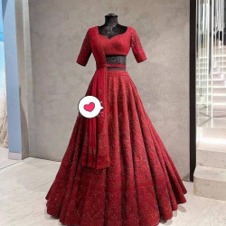 Snazzy Maroon Color Embroidered With Daimond Stone Work Lehenga Choli